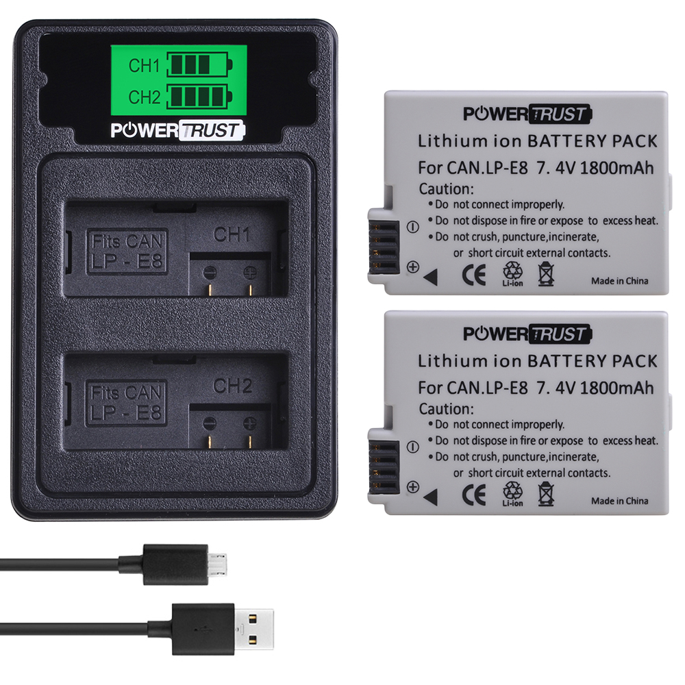 2pcs LPE8 LP-E8 LP E8 <font><b>Battery</b></font>+LCD USB Dual Charger with Type C Port for <font><b>Canon</b></font> EOS 550D 600D <font><b>650D</b></font> 700D Rebel T2i T3i T4i T5i image