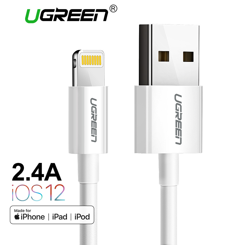 Ugreen MFi Lightning to USB Cable for iPhone Xs Max 8 7 6 Plus Fast Charging Data Lightning Cable for iPhone 5s USB Charger Cord remax rt c1 usb c to usb 3 0 fast data sycn charging cable