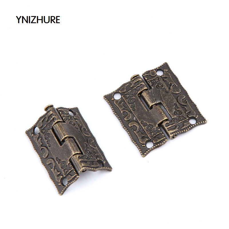 20pcs 25*23mm Antique Bronze Hinges Cabinet Door Drawer Decorative Mini Hinge For Jewelry Storage Wooden Box Furniture 10pcs cabinet door butt hinges mini drawer bronze decorative mini hinges diy accessories small wooden box decoration