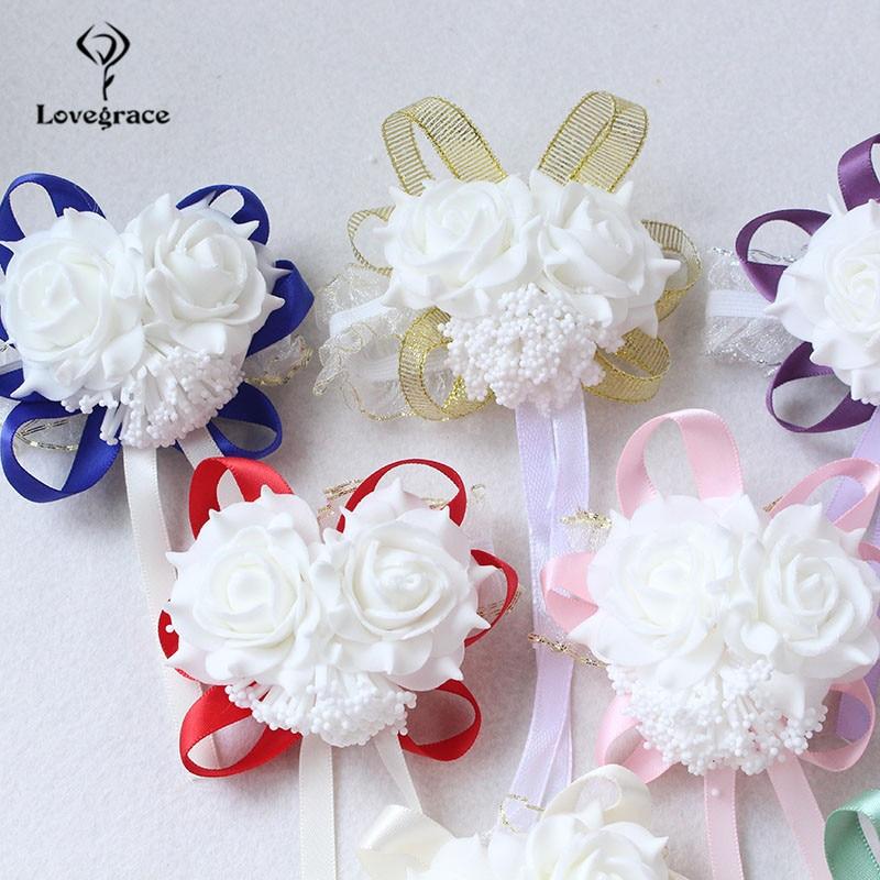 White Foam rose Wedding Wrist Corsage Hand Flowers Boutonniere bridal  (53)