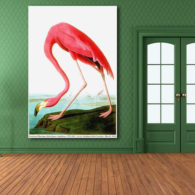 Amerikaanse Flamingo Door John James Audubon Print Originele Enorme Poster Voor Muur Decor Canvas
