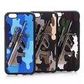 Super Hot Exército Moderno Legal Camuflagem 3D Metal Arma Macio TPU Couro de volta Caso de Telefone Capa Para o iphone 6 6 S Plus 5 5S SE