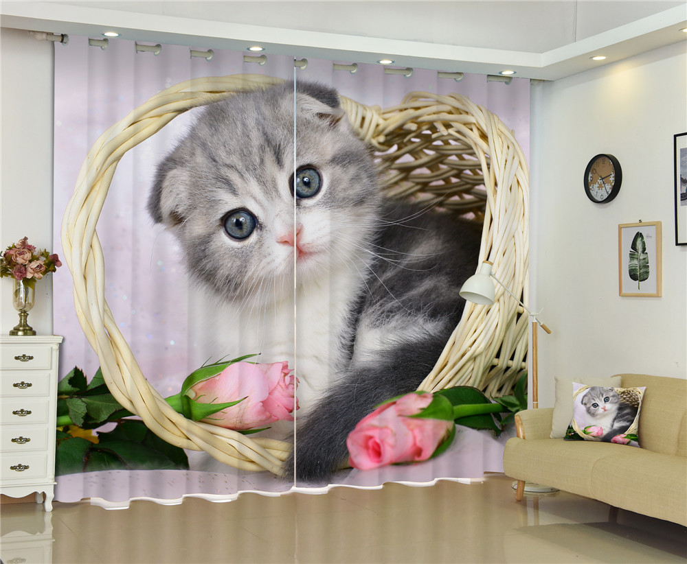 Cute Animals Cats Dogs Print 3D Window Curtains Drapes For Kids Children Bed room Living Room Home Wall Tapestry