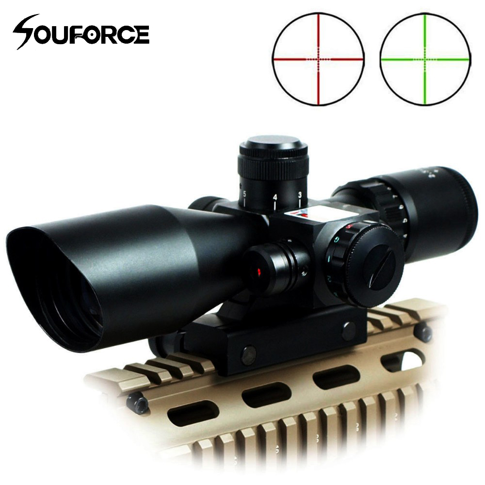 Tactical 2.5-10x40 Rifle Scope with Red Laser Combo Optical Sight with Illuminated Red Green Mil-dot Crosshair for Hunting Rifle tactial qd release rifle scope 3 9x32 1maol mil dot hunting riflescope with sun shade tactical optical sight tube equipment