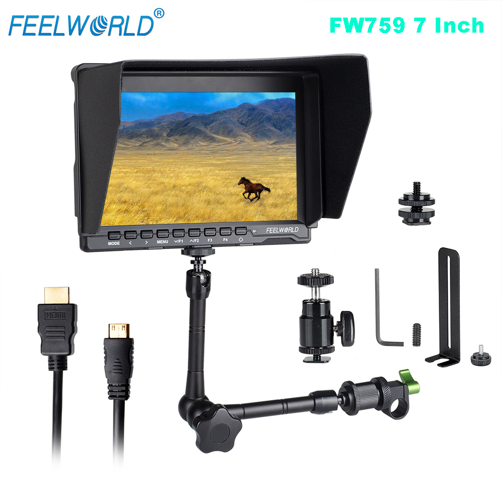 Feelworld FW759 7 LCD DSLR Camera HD IPS 1280x800 HDMI Field Monitor for BMPCC + 15mm Rod Clamp + 11 Magic Adjustable Arm цена