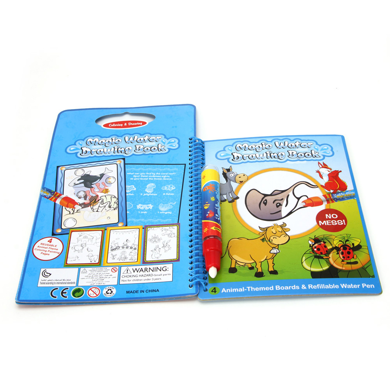 Kids Magic Book Water Drawing Pen Coloring Book Water