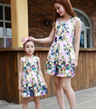 Mom and Daughter Dress Matching Family Look Girl and Mother Dress Summer Style Fashion Print Sleeveless Mother Daughter Clothes