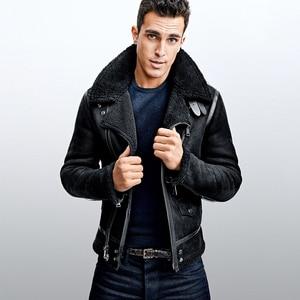 Image 2 - Free shipping.winter warm mens biker wool fur Jacket,classic B3 vintage genuine Leather jacket.thick sheepskin shearling coat.