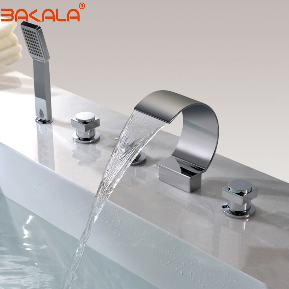 BAKALA 5 pcs Bathtub Faucet Cold and hot water Waterfall spout Mixer Taps Chrome Brass Bathroom Shower Faucet with Handshower ulgksd 5 pcs bathtub faucet oil rubbed bronze waterfall spout mixer taps bathroom shower faucet w handshower