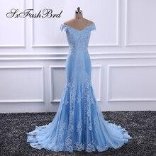 Vestido De Festa V Шея с аппликациями с короткими рукавами Русалка длинная формальная партия Элегантные синие вечерние платья для женщин