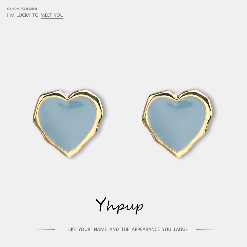 Yhpup New Trendy Heart Sweet Stud Earrings Copper Geometric Minimalist Temperament S925 Jewelry Women Party Brincos Oorbellen