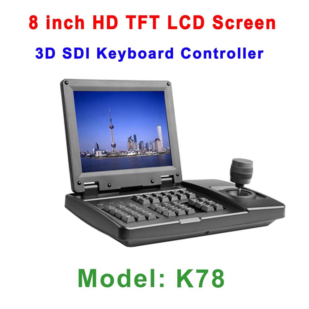 Contrôleur de clavier visuel de HDSDI PTZ analogique d'affichage à cristaux liquides de contrôleur de la manette 3D PTZ 8 pouces pour la caméra de véhicule PTZ dans la sortie de SDI HDMI CVBS