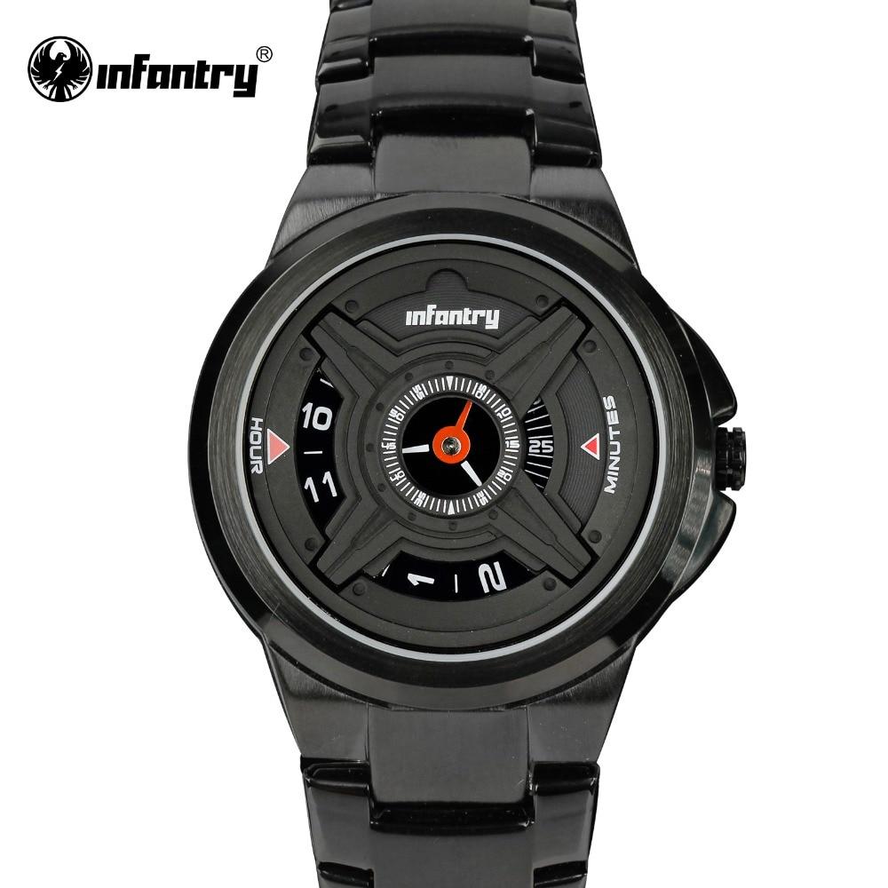 INFANTRY font b Mens b font Quartz Watches Luxury Sport Army Analog Wristwatch Black Stainless Steel