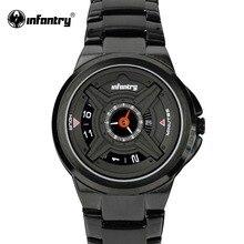 INFANTERÍA Hombres de Cuarzo Relojes de Lujo Del Deporte Reloj de Pulsera Analógico Ejército Negro de Acero Inoxidable Relojes Militares Relogio masculino 2016