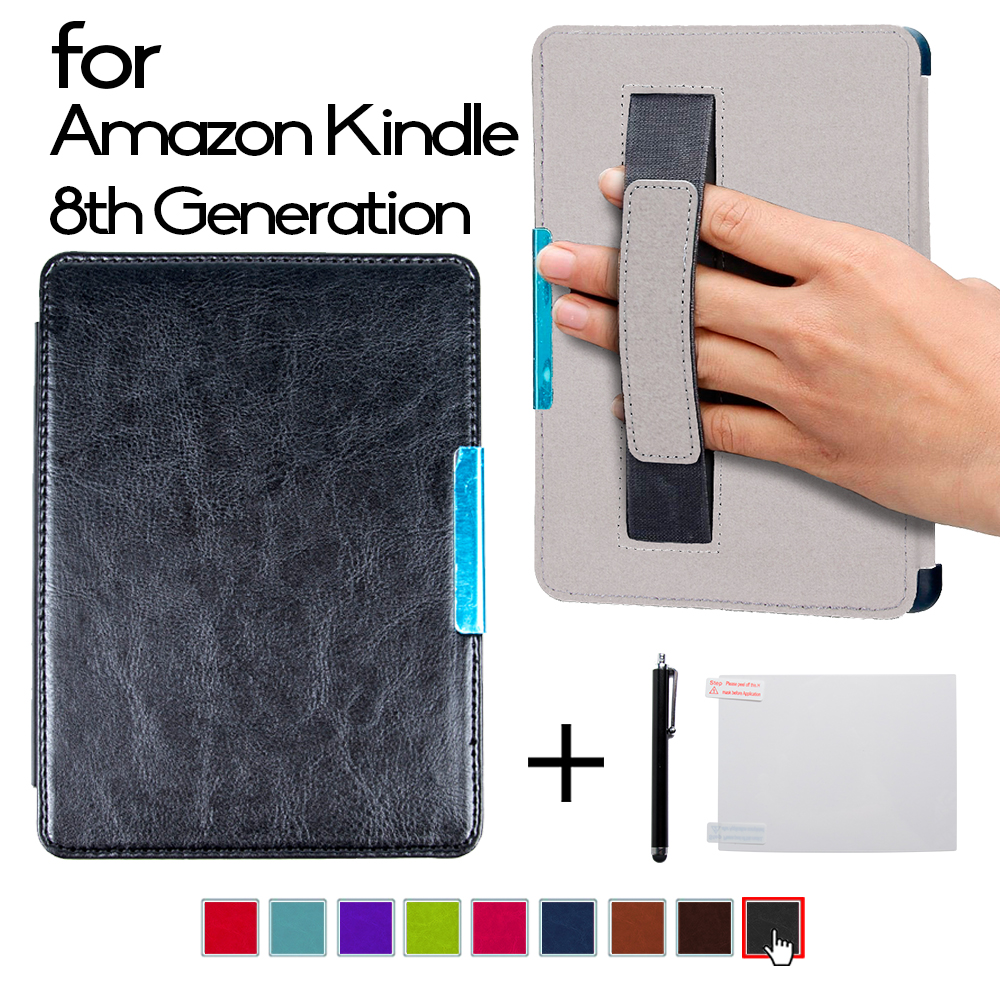 Magnet Folio PU leather smart cover case with hand grap cover for 2016 All-New Kindle (8th Generation 2016) ereader cover case folio cover
