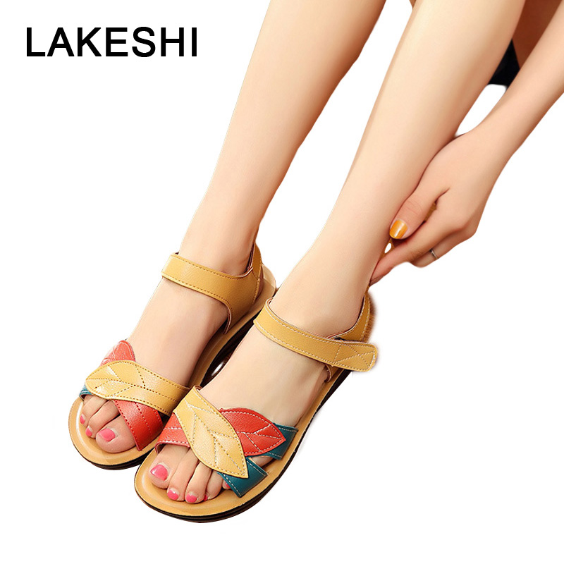 LAKESHI Women Sandals 2018 Summer Flat Sandals Fashion Mother Sandals Soft Bottom Women Shoes Size 41 Comfortable Women Flats ylqp women s genuine leather sandals shoes summer soft bottom comfortable flat bottomed mother sandals hollowed out ladies shoes