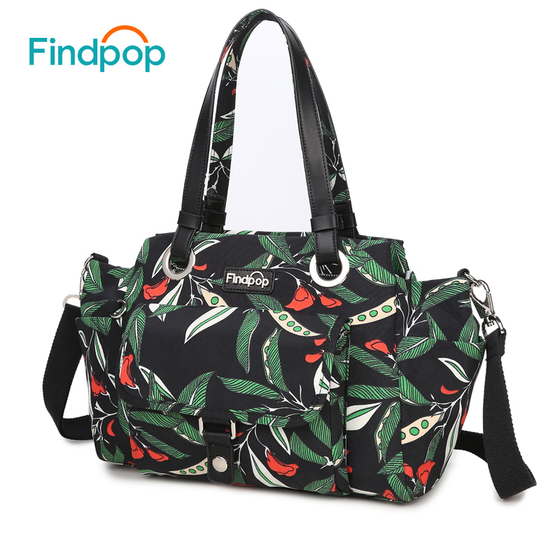 Findpop Large Capacity Handbag Women Green Leaves Canvas Tote Bag 2017 Waterproof Crossbody Shoulder Bags Fashion Bolsa Feminina saf green leaves rose foldable red shopping bag handbag