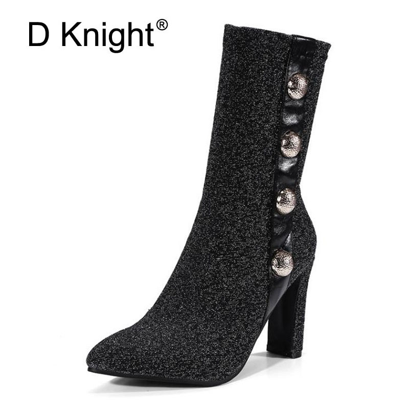 D Knight Bling Black Silver High Heels Sexy Women Ankle Boots 2018 Winter Ladies Fashion Hot Button Decoration Boot Shoes Woman