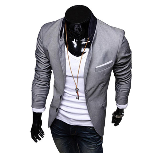 FGGS New Stylish Men's Casual Slim Fit Two Button Suit Blazer Coat Leisure Jacket Tops 3 Colors US size XS-L