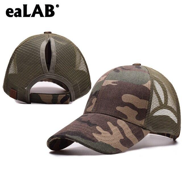 eaLAB Baseball Cap Girl Ponytail Mesh Hat Summer Women Camouflage 511 Tactical  Cap Fashion Bone Caps 795b6ac5c69