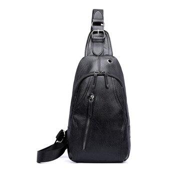 Men Adjustable Strap Zipper Lightweight Waist Headphone Hole Casual Simple Shoulder Leather Front Pocket Multifunction Chest