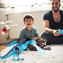 Remote Control RC Dragon Walking Dinosaur Toy with Light Sound Kids Toy Gifts YJS Dropship remote control tyrannosaurus velociraptor giganotosaurus rugops rc walking dinosaur toy with shaking head light sounds