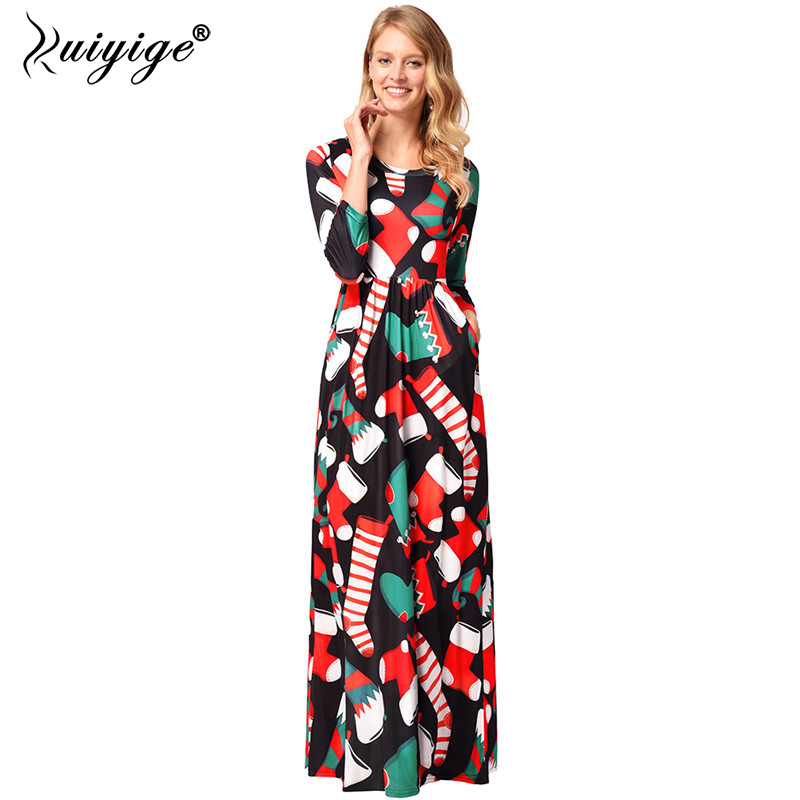 Ruiyige 2018 Women Floral Print Long Maxi Dress Christmas Casual O-Neck Half  Sleeve Stretch Tunic Pockets Party Robes Santa Gift 5cb2346e54b2