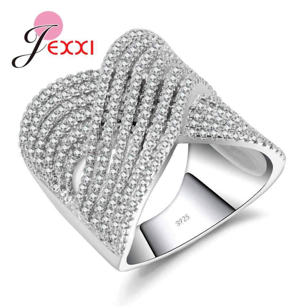 JEXXI Fashion Cross Finger Band Rings 925 Sterling Silver Wedding Engagement Jewelry For Female Oval Clear CZ Crystal Rings Anel