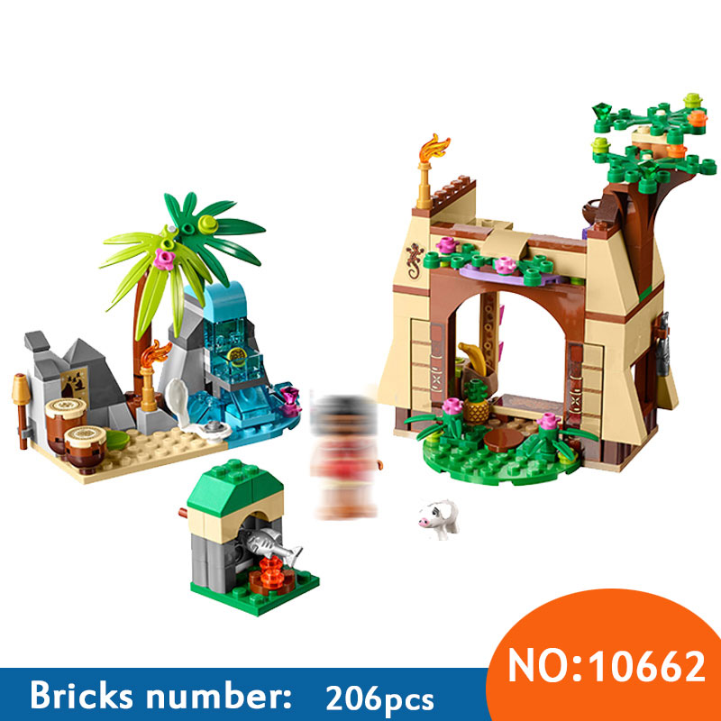 10662 206pcs Girls Friends Princess Vaiana Moana Ocean Voyage Bela Building Block Compatible 41149 25004 Brick Toys For Children