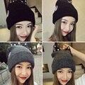 Осень зима шляпа Леди горный хрусталь вязаная шапка мода высокое качество кот уха сладкий прекрасный крышка открытый мода теплый дамы шляпу