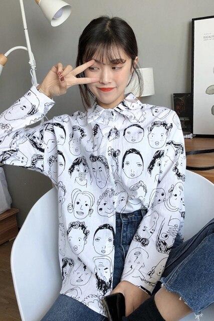 2018 Korean Street Fashion Women Shirts Japanese Harajuku Vintage Cartoon Print Leisure Blouses Funny Graphic Loose Female Tops 5