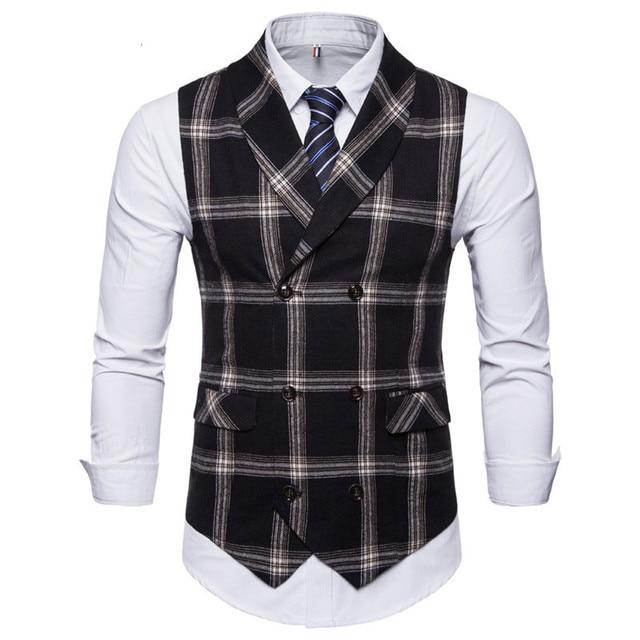 FFXZSJ New Classic Plaid Suit Vest Men Slim Fit Double Breasted Vest Waistcoat Mens Business Wedding Tuxedo Vest Gilet Homme 1