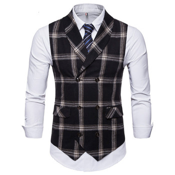 FFXZSJ New Classic Plaid Suit Vest Men Slim Fit Double Breasted Vest Waistcoat Mens Business Wedding Tuxedo Vest Gilet Homme 1