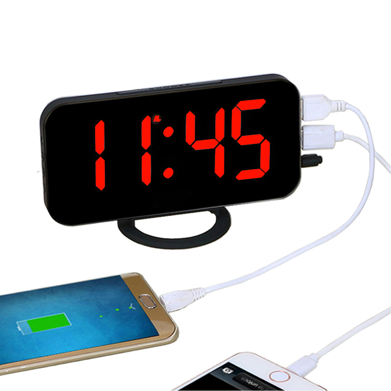 Automatic brightness adjustment, with two USB ports and phone connector Digital Electronic Desk Clock LED Alarm Clock