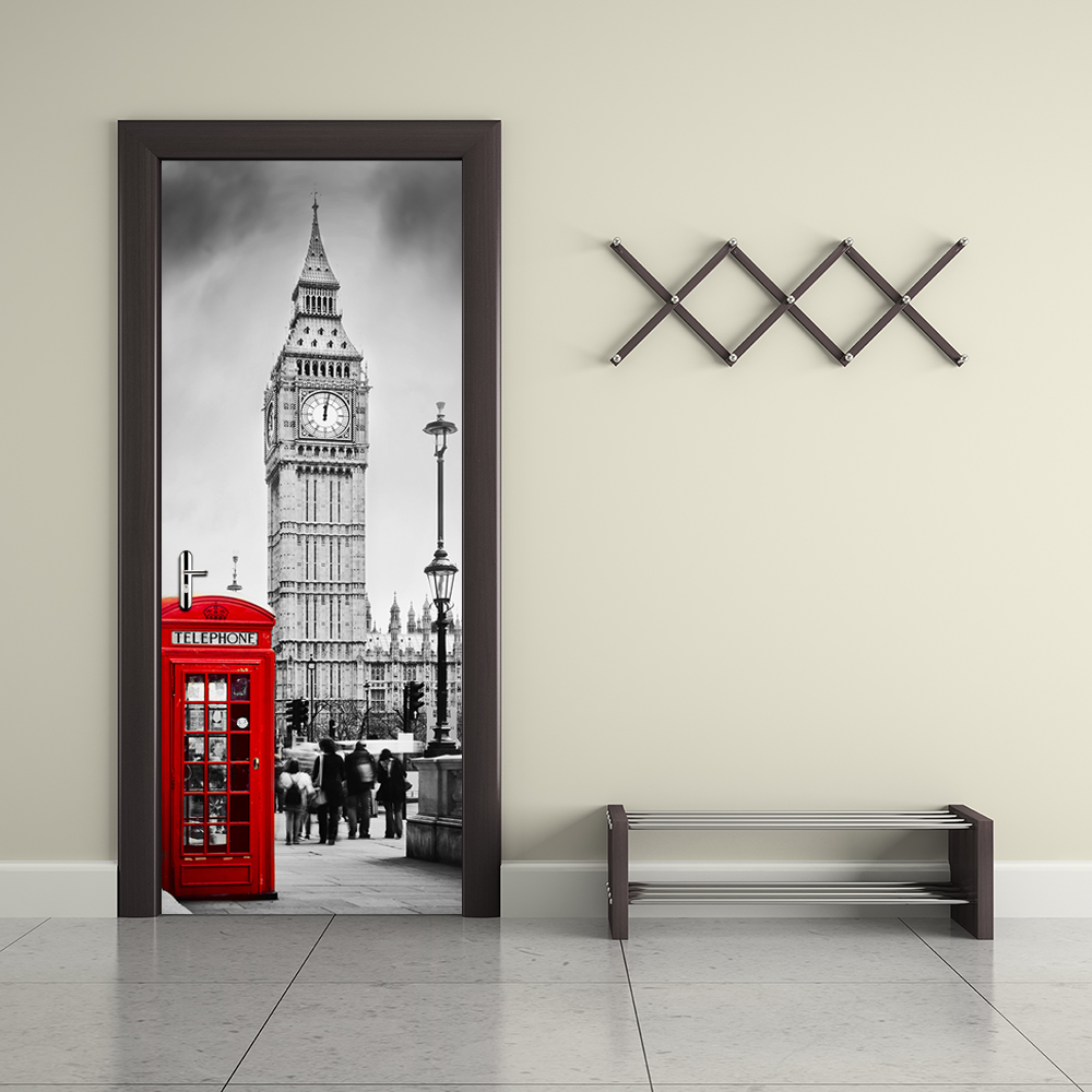 Fake 3d Door Wallpaper London Style Big Ben Telephone Booth Street Mural City Scenery Vinyl Sticker Living Room Home Decoration