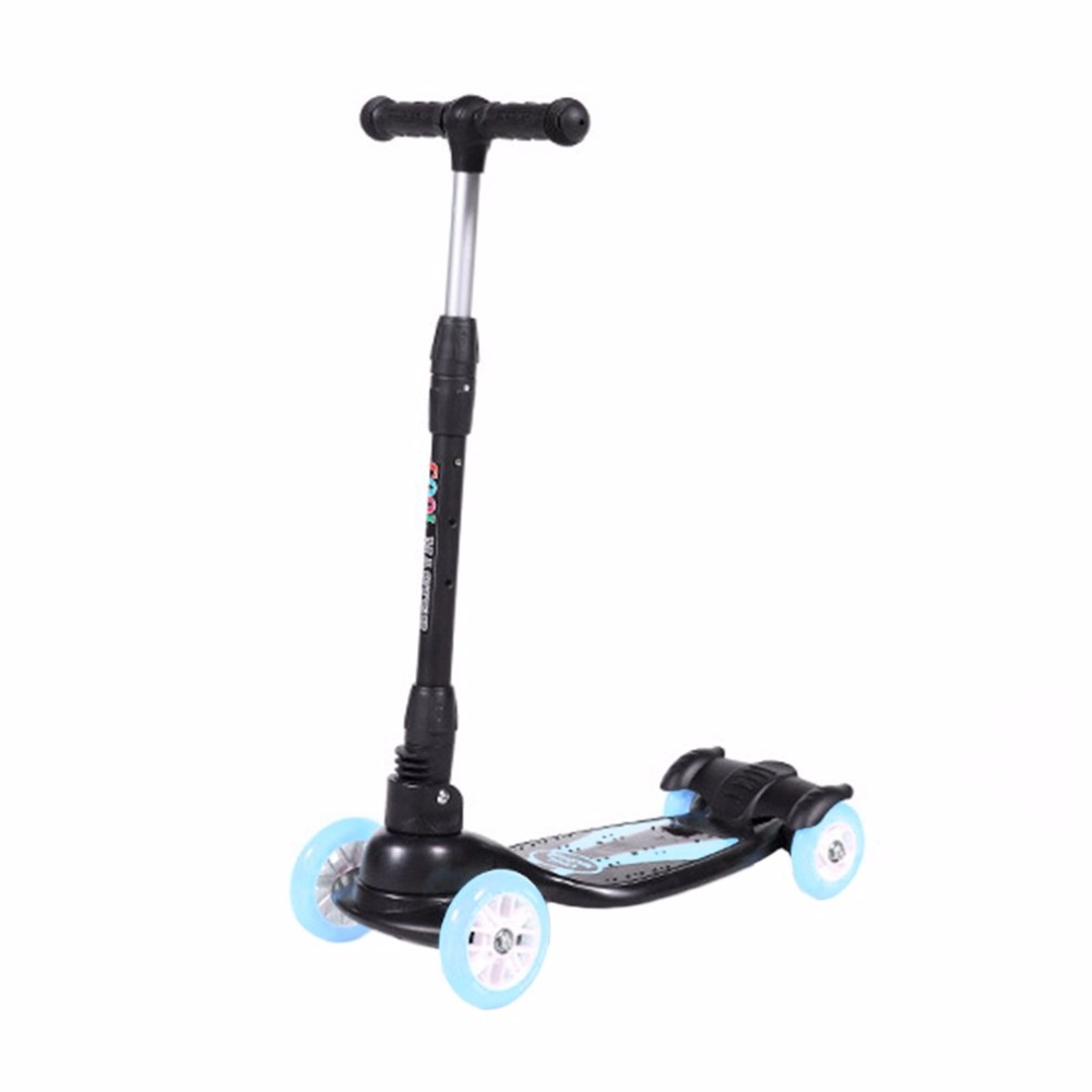 Four Wheels Flashing Light Skateboard Children Scooter Adjustable Hand Bar 4 Tire Foldable Free-of-installation For Kids Walker three flashing wheels children scooter gravity steering foldable free installation for toddler kids walker outdoor free shipping
