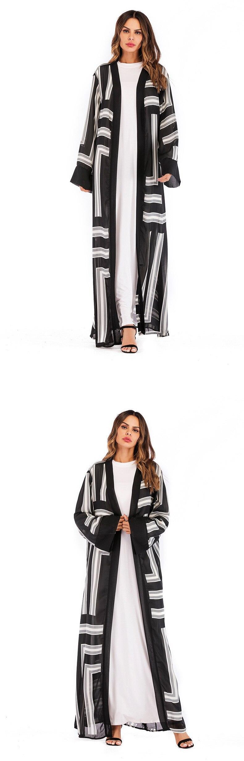 Muslim Abaya UAE Maxi Dress Striped Cardigan Tunic Long Robe Gowns Jubah Kimono Ramadan Arab Islamic Turkish Worship Service