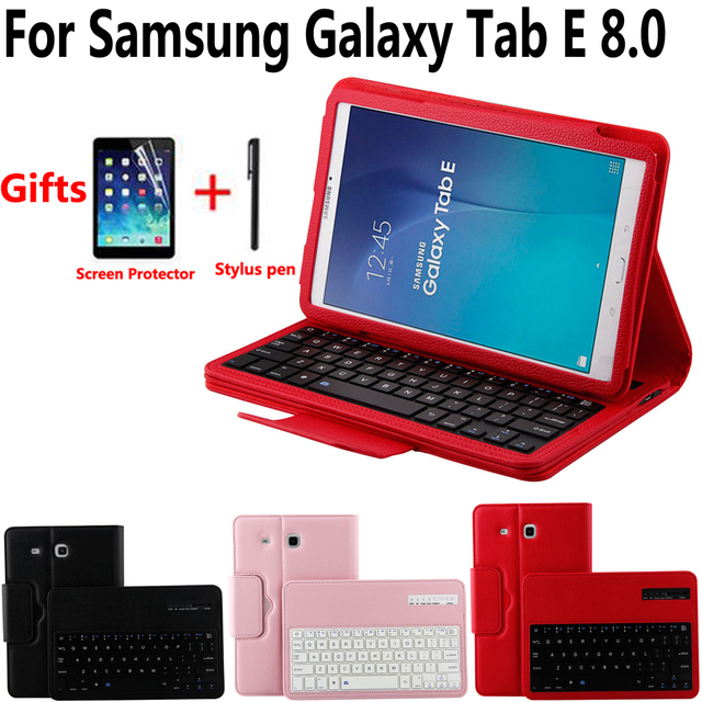official photos d3c1d 1a7bd US $13.53 19% OFF|Detach Wireless Bluetooth Keyboard Case Cover for Samsung  Galaxy Tab E 8.0 SM T375 T375 SM T377 T378 with Screen Protector Film-in ...