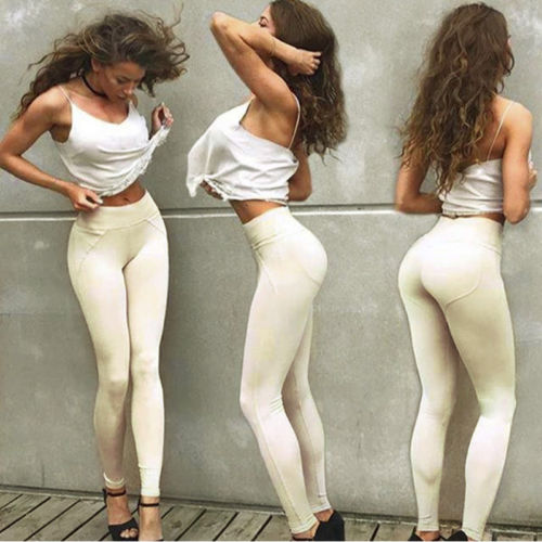 2018 New Solid Women Leggings Elastic Push-Up Slim Sexy Leggings High Waist  Long Leggings