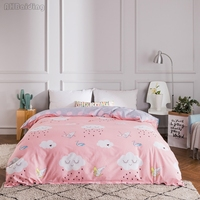 Pink White Clouds Bedding Set Bed Linen for Women Girl 1 Pc 100% Cotton Duvet Cover with Zipper Twin Full Queen King Qulit Cover