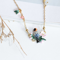 New Arrivals Enamel Romantic Cherry Blossoms Birds Gold Woman Necklace Clavicle Chain Fashion Jewelry