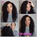 150 densidad 7A brasileño de la virgen rizado pelucas llenas castaño / negro frontal Color del cordón peluca para para negras sin cola llena del cordón pelucas de cabello humano