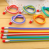 5pcs Korea Cute Stationery Colorful Magic Bendy Flexible Soft Not broken Pencil with Eraser Student School Office Use Standard Pencils