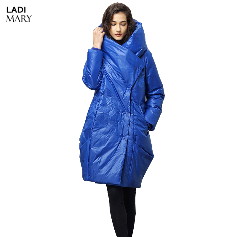 LADIMARY Womens Winter Single Breasted Solid Down Jackets 90% White Duck Down Parkas Down Coats Hooded Jacket Y14096