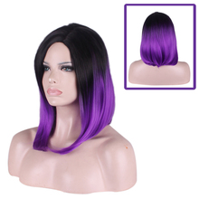 цена на Anime Black Purple Ombre Short Bob Wig Cosplay Costume Heat Resistant Synthetic Hair Wigs For Women