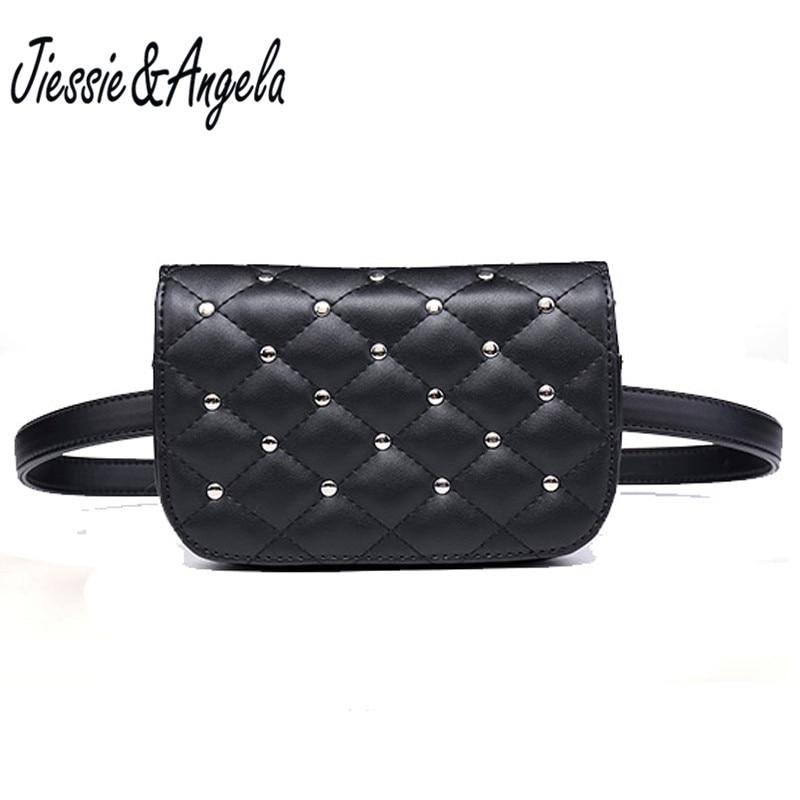 Jiessie & Angela New Fashion Black Solid Leather Waist Pack For Women Fanny Pack Waist Bag Pouch Phone Women Bag Bolosa jiessie