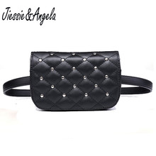 Jiessie & Angela New Fashion Black Solid Leather Waist Pack For Women Fanny Bag Pouch Phone Bolosa