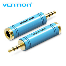 Vention novo 1 pçs ouro 3.5mm macho para 6.5mm fêmea adaptador de áudio jack estéreo conversor cabo para microfone(China)