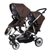 лучшая цена Twin Baby Stroller Luxury Multiple Stroller Twins Carriage Portable High Landscape Reversible Hot Mom Stroller Pushchair
