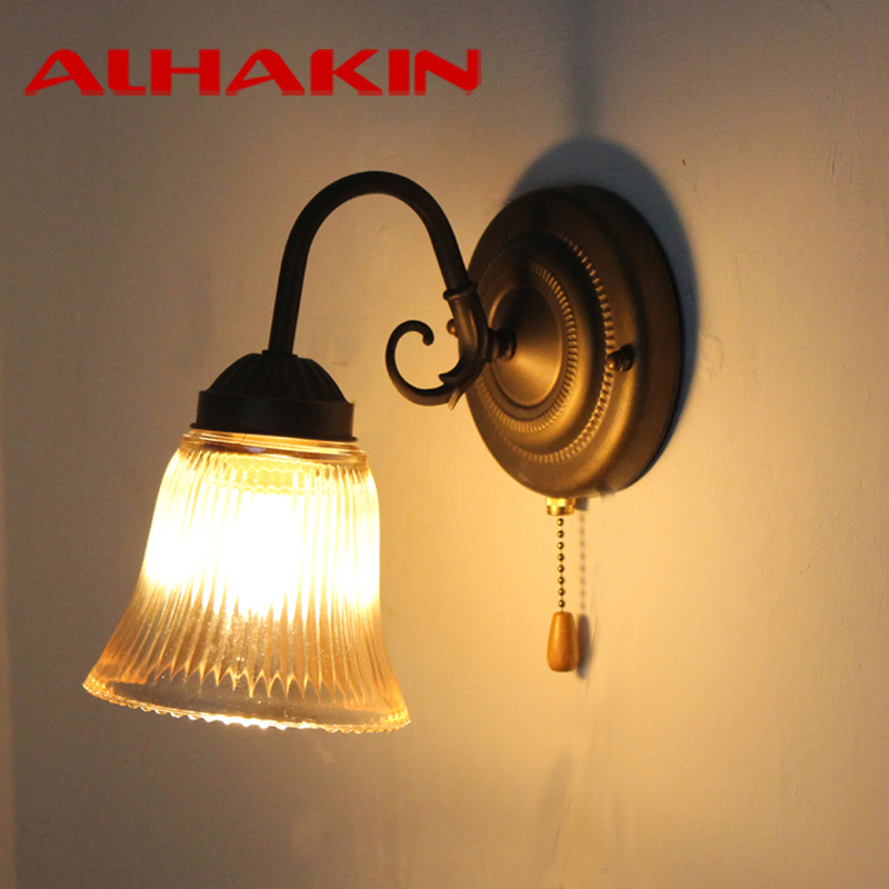 Alhakin Wall Light Metal Gl Indoor Lamp Mirror Pull Switch Sconce For Living Room Bedside Decor In Lamps From Lights